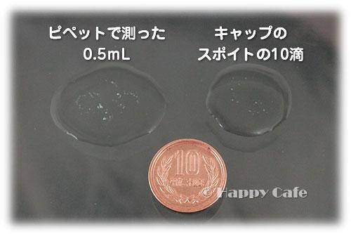 0.5ml、10滴、10円玉の比較
